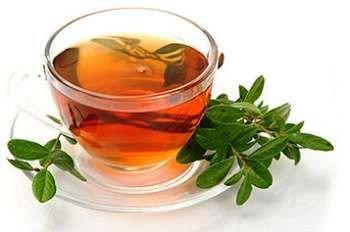 Чай и зеленые листики