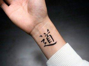 Символические иероглифы на запястье