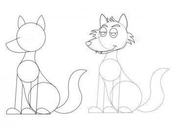 Рисование простого волка из кругов