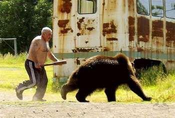 Мужчина с битой прогоняет медведя